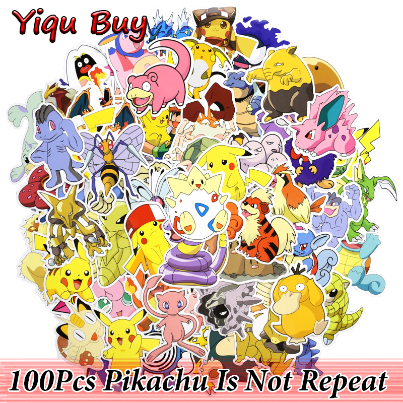 100 Pcs Pikachu Cartoon Stickers for Motorcycle Car Styling Laptop Toys Home Decor Decals Luggage Bike