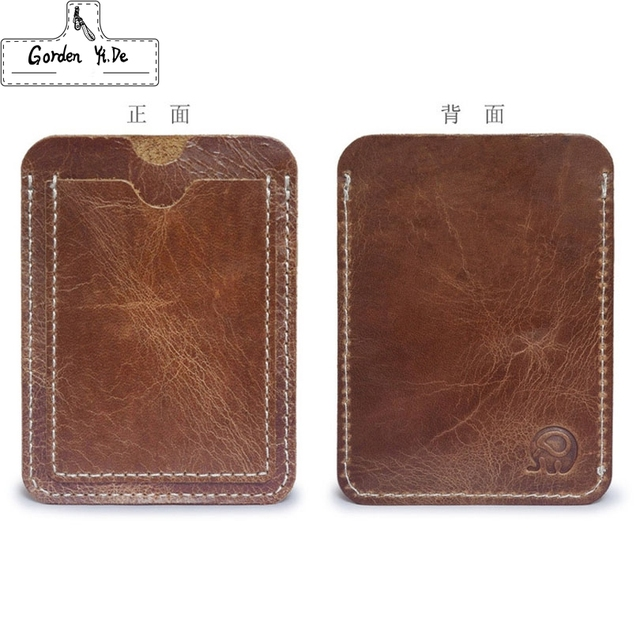 Crazy Horse Cowhide Leather Credit Card Holder