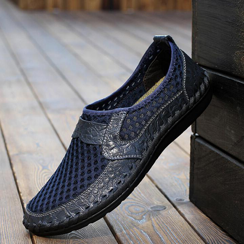 2019 Men Sandals Summer Shoes Breathable Flat Casual Leather Sandals Retro Mesh Sandals For Men Big Size 38-48
