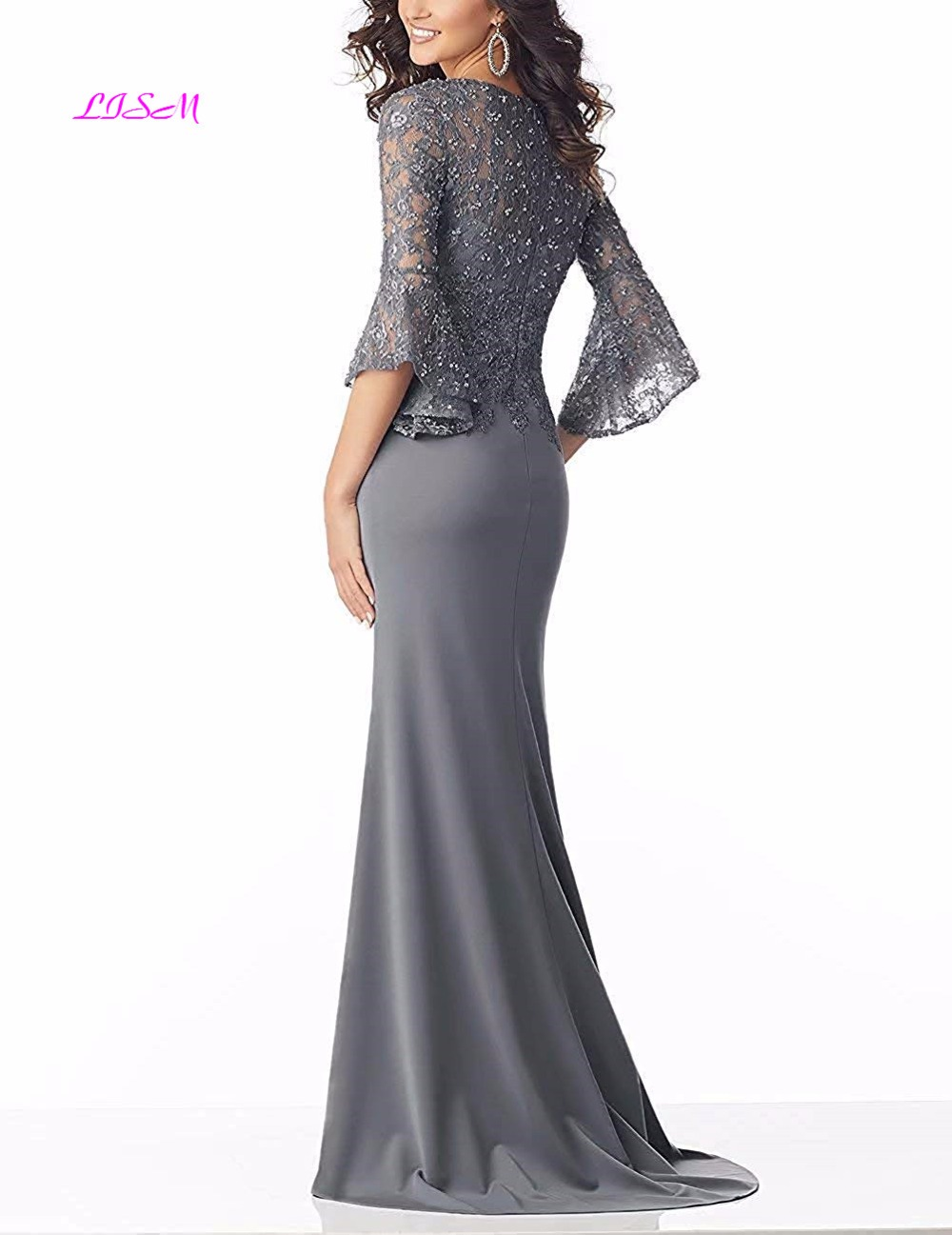 Deep V Neck Half Sleeves Long Evening Dresses Mermaid Lace Sequins Satin Long Party Gowns Sexy Fishtail Sweep Train Formal Dress