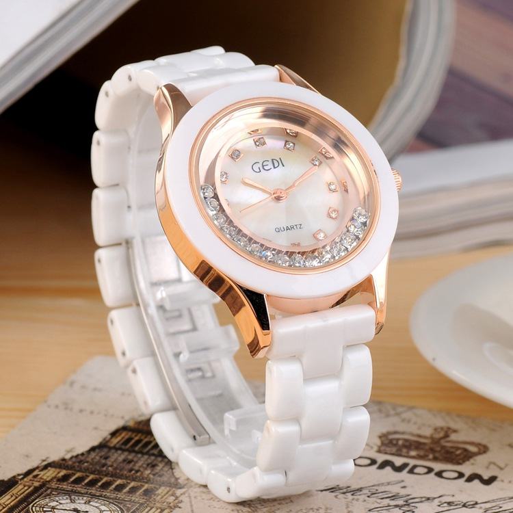 цены Fashion Crystal Ceramic Watches Women Clock Top Luxury Brand Ladies Quartz Watch Dress Wrist Watch Relogio Feminino Reloj Mujer