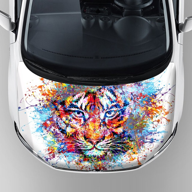 New tiger graphics sticker vinyl car wrap protective car hood bonnet vinyl film self adhesive decal