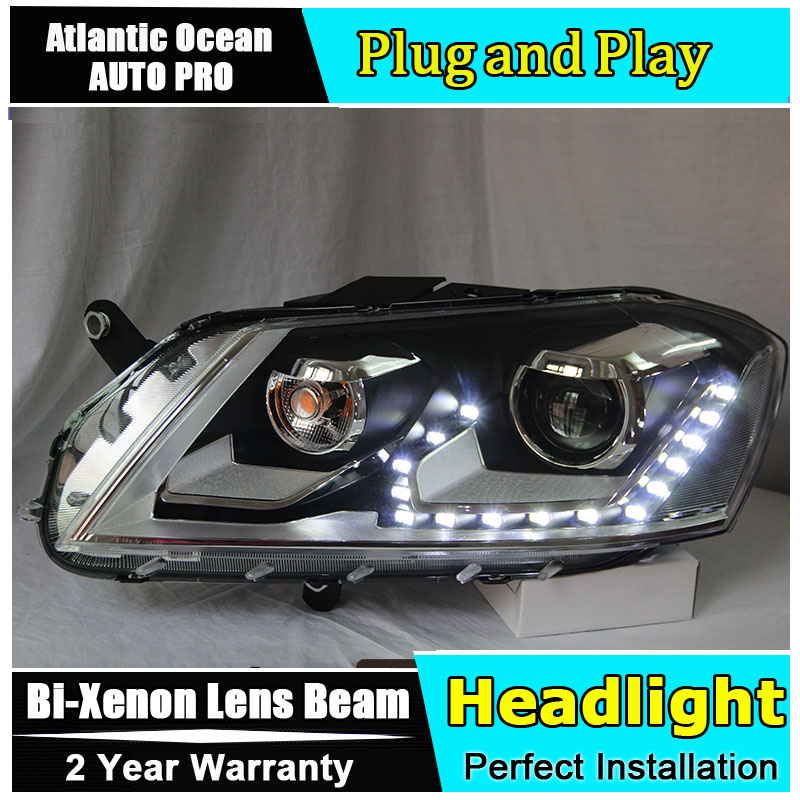Car styling 2012-2015 For vw passat b7 headlights Europe LED light DRL HID KIT headlamps for VW passat B7 bi xenon lens набор автомобильных экранов trokot для vw passat b7 2010 2014 на передние двери tr0408 01