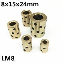 4pcs 8x15x24 mm linear graphite copper set bearing bushing oil self-lubricating JDB Free shipping LM8UU LM8 8mm