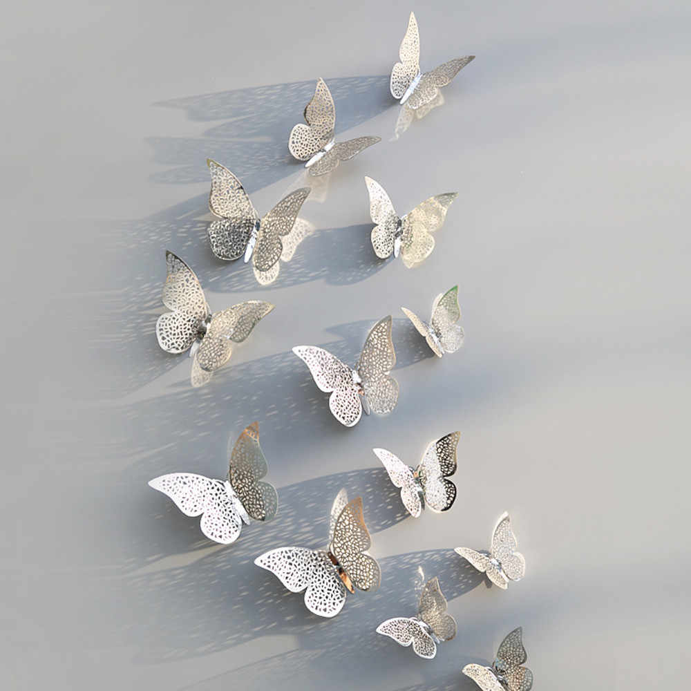 12 Pcs/Set 3D Wall Stickers Butterfly Hollow Paper 3Sizes Silver Gold For Fridge Stickers Home Party Wedding Decor