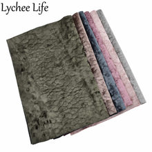 Lychee Life Faux Leather Litchi Grain Velvet Fabric 29x21cm Flannel Fabric DIY Handmade Sew Clothes Skirt Accessories Supplies(China)