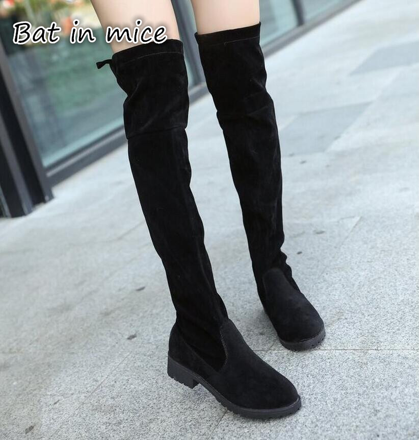a8f6212ac87 B.I.M. New arrival Women Shoes Over Knee Thigh High Black Boots Female  Motorcycle Flats Long Boots Low Heel Suede Leather boots