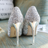2018 new autumn bride wedding shoes female bridesmaid sequins gradient crystal shoes silver high heels stiletto princess.