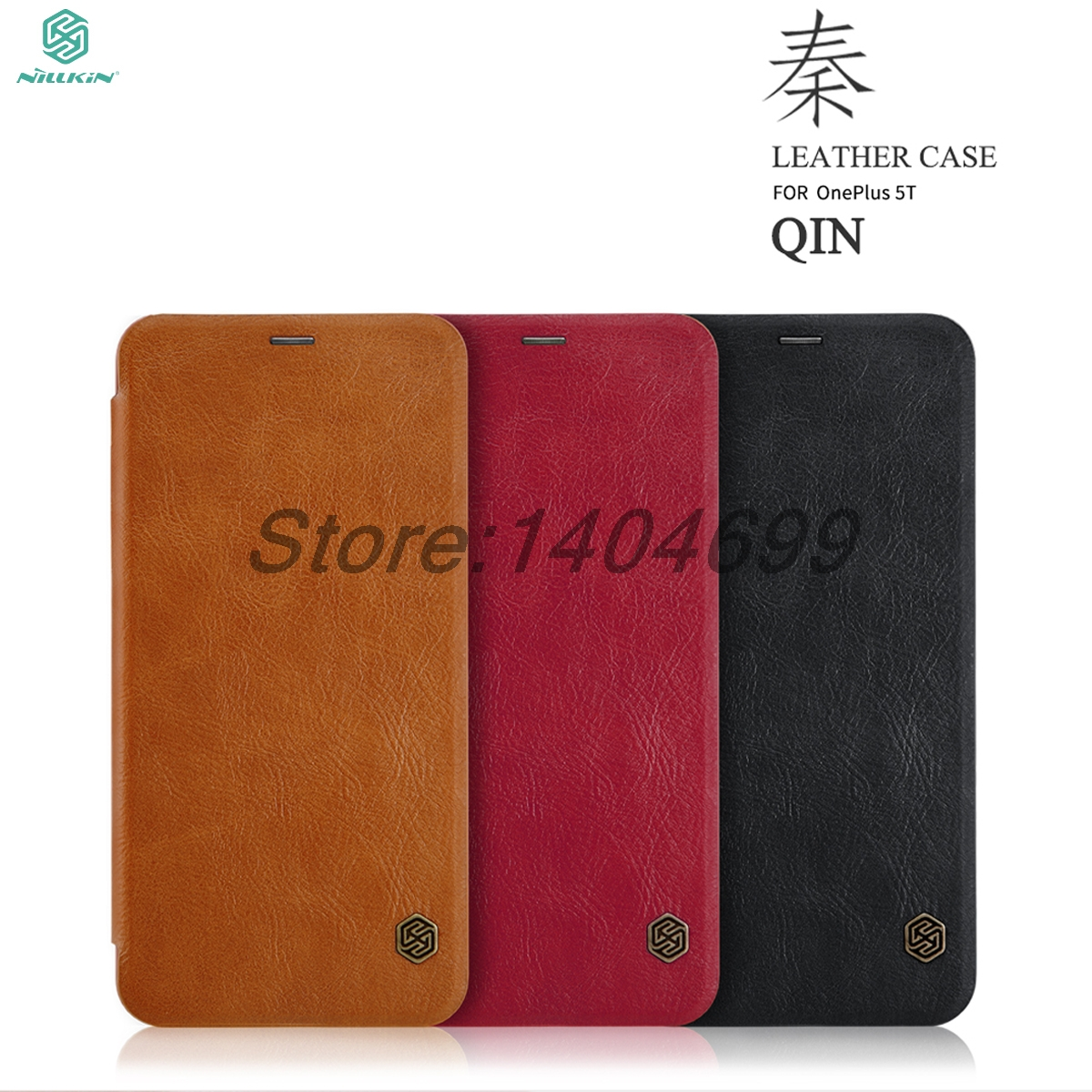 OnePlus 5T Flip Case OnePlus 5T Case Nillkin Qin Series PU Leather Cover Case For OnePlus 5T A5010 With Card Bag