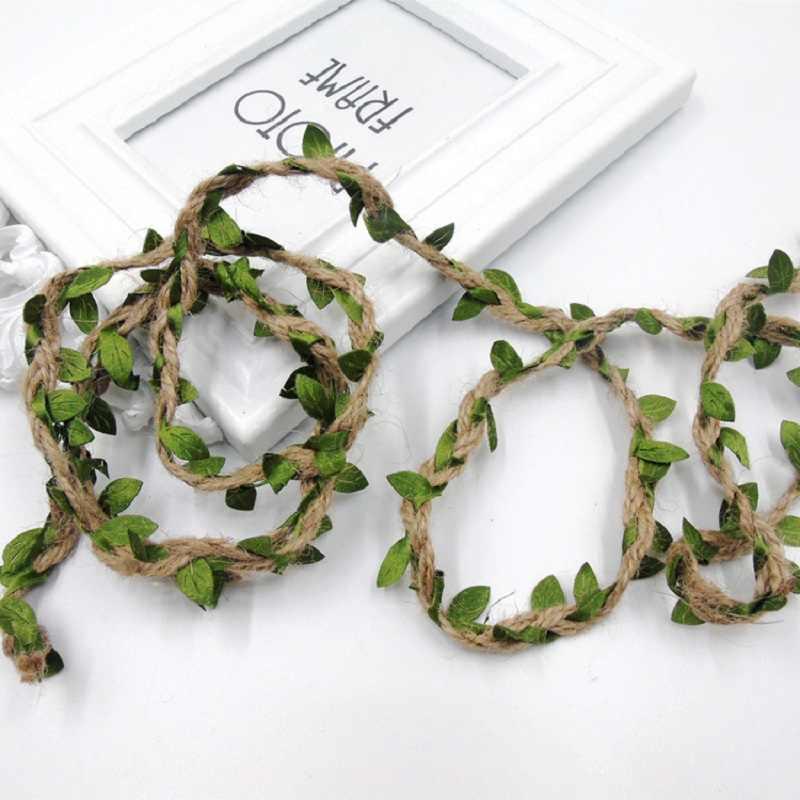 Corda de cânhamo para decoração de casamento, 2m/5m, folhas verdes de tecelagem, faça você mesmo, aniversário, casamento, buquê de presente, corda de embalagem 5mm