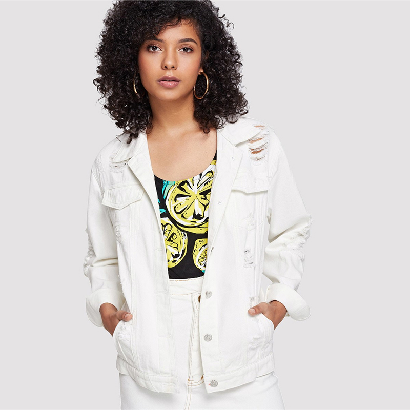 White Ripped Solid Button Front Denim Jacket For Women