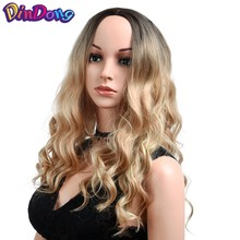 DinDong Long Blonde Wig 18 Inch Deep Wave Wigs 250g High Temperature Fiber Middle Part American Afro Synthetic Hair Ombre Wig(China)