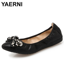 YAERNI  New 2018 Spring Summer Foldable Ballet Women Flats Large Size Egg Roll Shoes Woman Fashion Rivets Bow Zapatos mujer E733