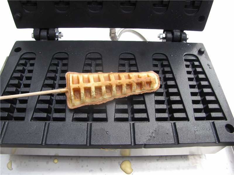 6 Molds Nonstick Electric Lolly Waffle Machine Commercial Short Pine-tree Shape Waffle Maker 110V 220V