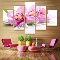 5 Panel Fashion Modern Printed Red Flower Painting Picture Cuadros Flowers Canvas Art Home Decor For Living Room No Frame XY367