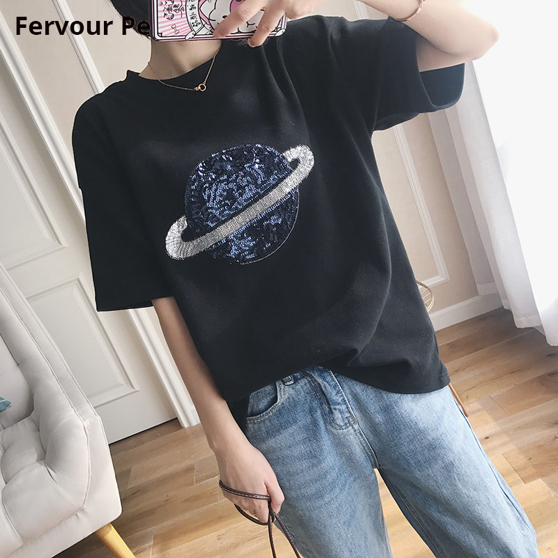 Women's T-shirt Black hole Space Planet Sequined Cotton Short sleeve Loose Slim Loose Style Tee Shirt Female shirt Large Size