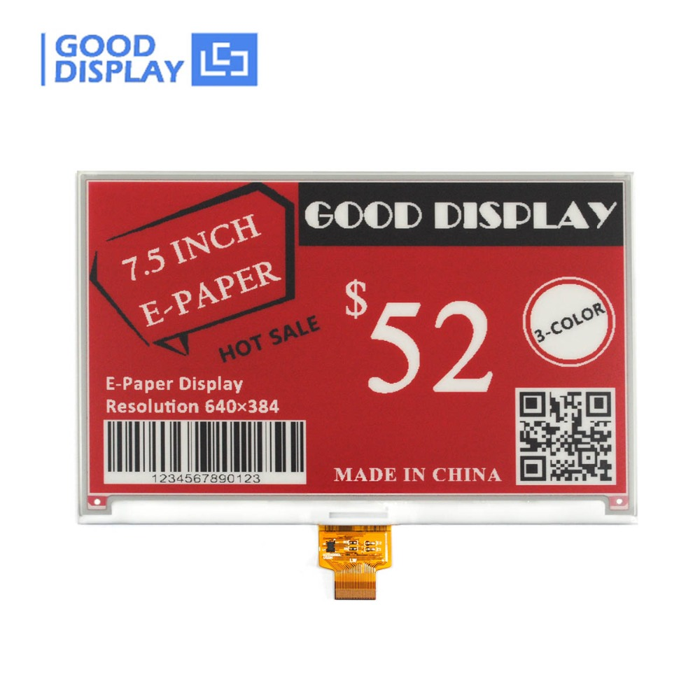 e paper display 7 5inch 3 Colors SPI interface e ink display