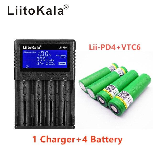 1 pièces LiitoKala lii-PD4 LCD 3.7 V 18650 21700 chargeur de batterie + 4 pièces 18650 3000 VTC6 30A cigarette électronique jouets flashligh trop