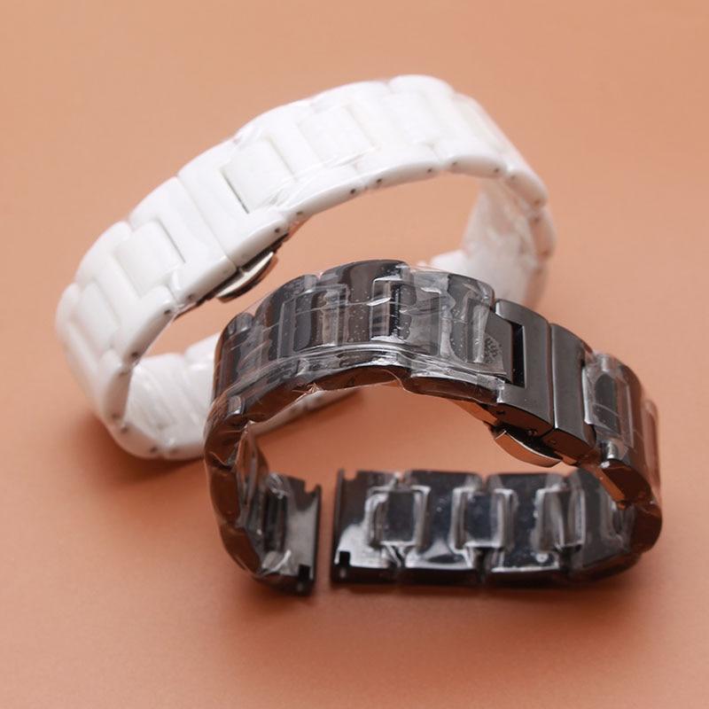 Kakovostna keramika in zaponke iz nerjavečega jekla 20 mm 22 mm moške črne pasove za Samsung Gear S2 S3 promocija 14 mm 18 mm