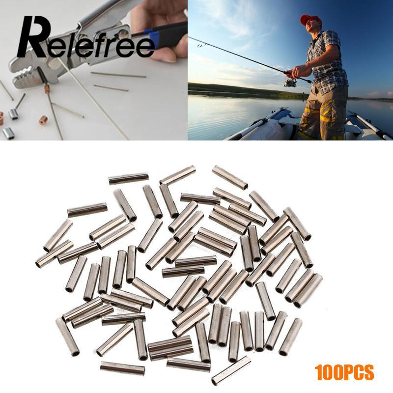 Relefree Easy Catch 100pcs White Oval Aluminum Fishing Tube Fishing Wire Pipe Crimp Sleeves Connector Fishing Line Accessories ...