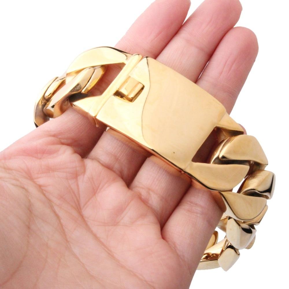 26mm/31mm de large Biker 316L en acier inoxydable grand Bracelet de chaîne de bordure lourde Bracelet hommes garçons chaîne en gros bijoux