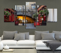 Fashion High Definition City Cafe Street Canvas Painting Decoration Hotel Office Background Art Wall Picture No