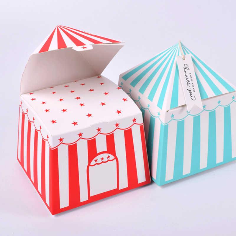 20 sztuk w paski pudełka cyrk Party Cartoon namiot papierowe pudełko cukierków dla dzieci Birthday Party dekoracje pudełeczko upominkowe Baby Shower