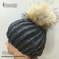 2016 Winter Knitted genuine Fur pom pom Hat Women Spring Warm Braided Crochet Knitting Hat Girl Beret Ski Beanie Ball Cap