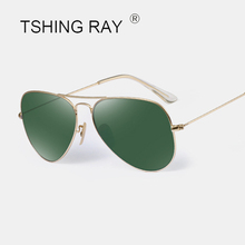 TSHING RAY Vintage Glass Lens Polarized Pilot Sunglasses Men Women Fashion Brand Designer Mirror Aviation Driving Sun Glasses