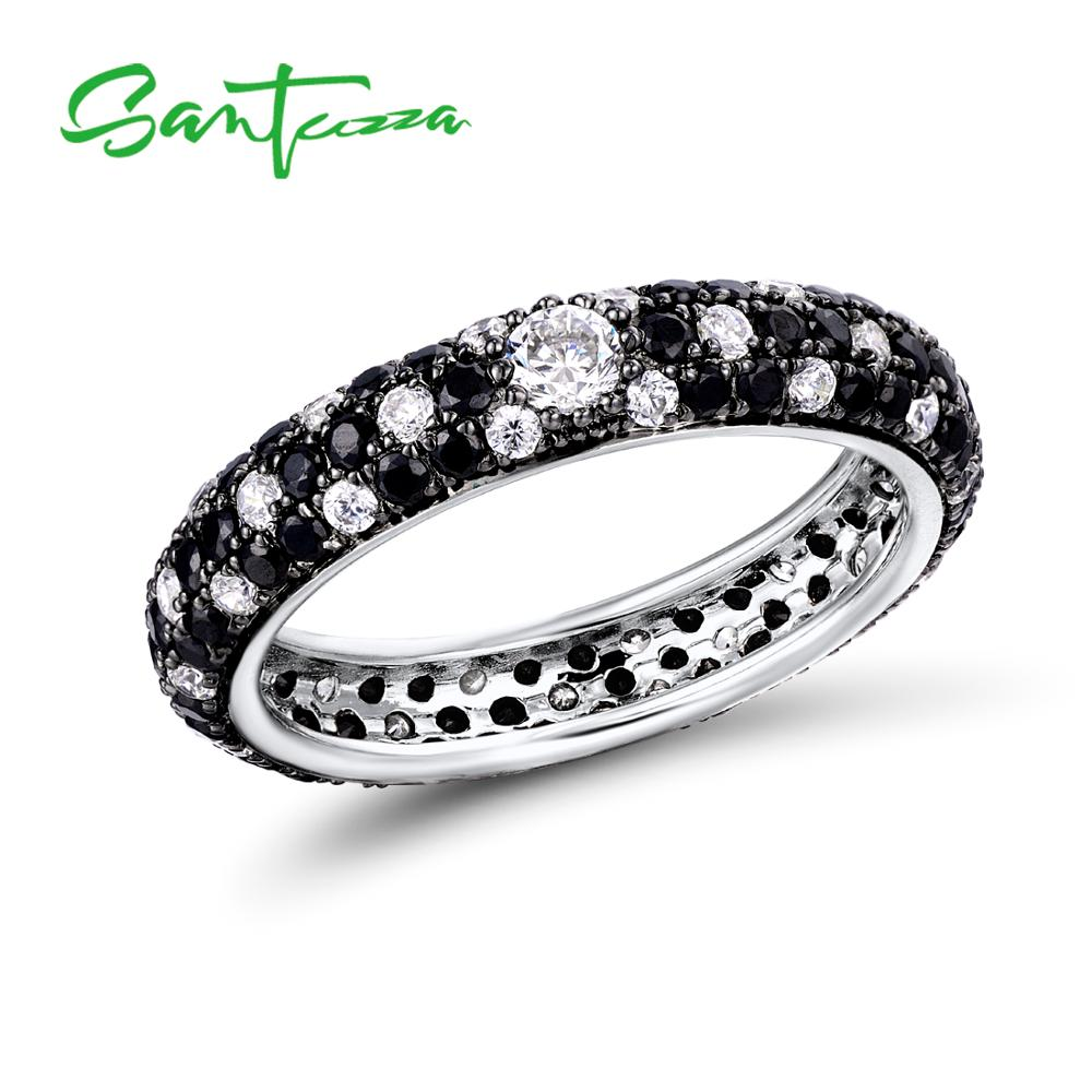 Image 3 - SANTUZZA Silver Rings For Women Pure 925 Sterling Silver Multi color CZ Ring Stackable Eternity Ring Trendy Fashion JewelryRings   -