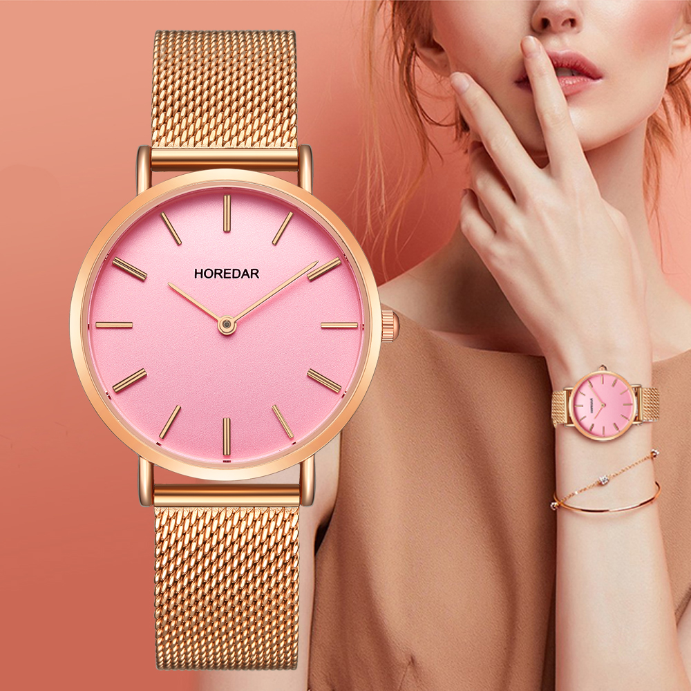 Luxury Brand Watch For Women High Quality Ultra Thin Rose Gold Stainless Steel Mesh Strap Women Quartz Wrist Watches Pink Clock