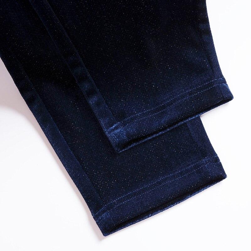 longueur Crayon Acrmrac Cheville Taille Pantalon Automne Printemps Femmes Élastique Et lavande Haute Mince Noir Pantalons bleu Pleuche wqBvw71cP