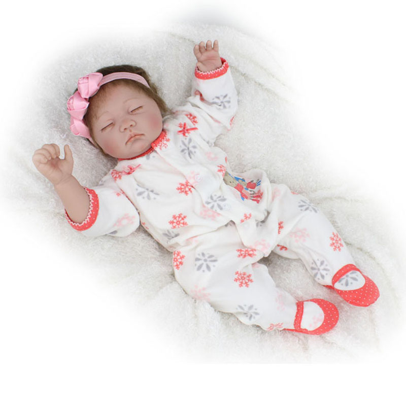 55cm Reborn Baby Doll Lifelike Sleeping Silicone Closed Eyes Toys Girls Kids Fashion Doll for Children Christmas Birthday Gifts new arrival 55cm blue eyes pink clothes lifelike baby soft girl doll with free plush toy as kids xmas gifts birthday doll toys