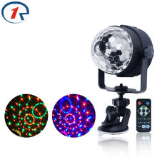ZjRight IR Remote RGB LED Crystal Magic Rotating Ball Stage Lights USB 5V Colorful ktv DJ light disco light Music control Light(China)