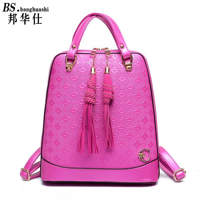 Brand new 2016 Leather Fringed Fashion Design Woman s Embossed Shoulder bag Korean Fashion Trend Leather