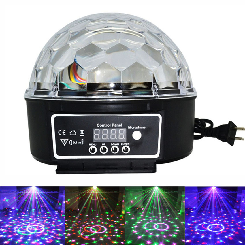 Thrisdar 6 Color DMX512 Magic Ball Led Stage Lamp 6W Voice Activated Christmas Disco DJ Laser Projector Stage Effect Light thrisdar 6w dmx512 magic ball led stage lamp voice control disco stage light digital christmas laser projector dj disco light