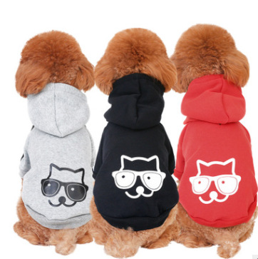 2018 autumn and winter new pet hoodie sweater solid color printing cat for Teddy Chihuahua French Bulldog etc.