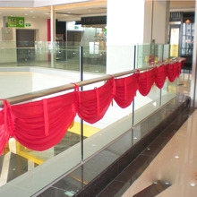 Red Detachable Swag curtains for Pleated Backdrop 6 meter length event party decoration