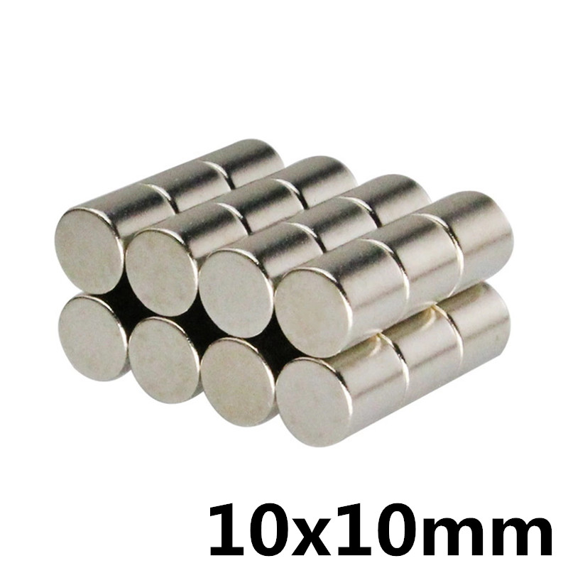 10pcs Neodymium Magnet 10x10 Rare Earth Small Strong Round Permanent 10*10 Mm Fridge Electromagnet NdFeB Nickle Magnetic DISC