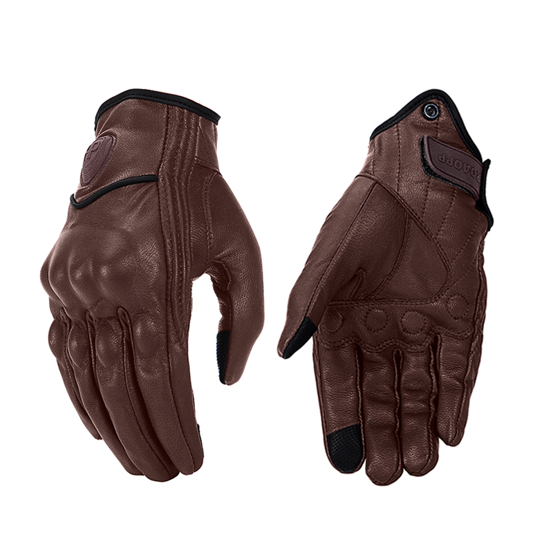 Updated,Perforated, M Updated Men/'s Motorcycle Gloves Goatskin Leather Anti-Slip Street Bike Gloves With Two Touchscreen Fingers