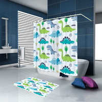 DFH Colorful Green Dinosaur Custom Bathroom Polyester Fabric Print Shower Curtain bathroom Waterproof Cartoon Shower Curtain