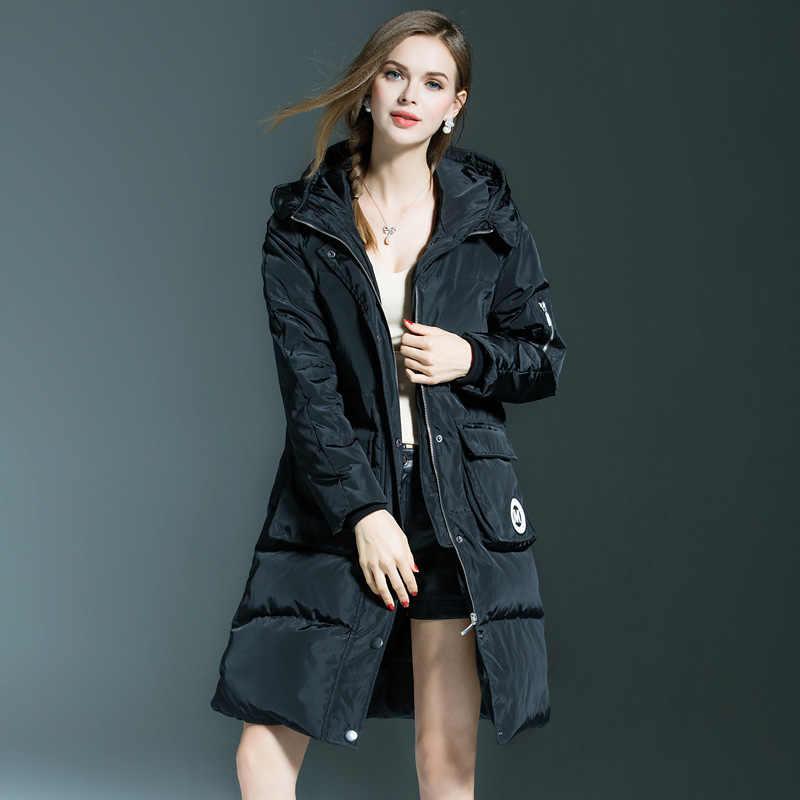 ... Ftlzz зимнее теплое пальто для женщин тонкий утка подпушка 90% куртка  длинный женский средней длины ... 076cd72473233
