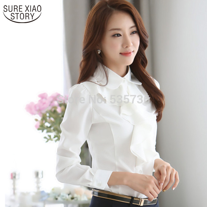 New Arrival 2017 Chiffon Long Sleeve Shirt Korean Style Fashion Ruffles Ladies White Bla ...