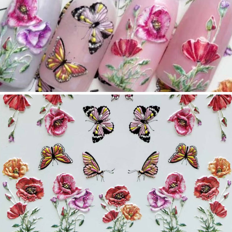 1pc 3D Acrylic Engraved butterfly flower Nail Sticker Embossed red Flower Water Decals Empaistic Nail Water Slide Decals in Stickers Decals from Beauty Health