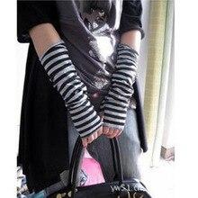 1 пара женские теплые рукавицы зима длинные вязаные запястья рука рука без пальцев перчатки полосатые длинные перчатки для женщин