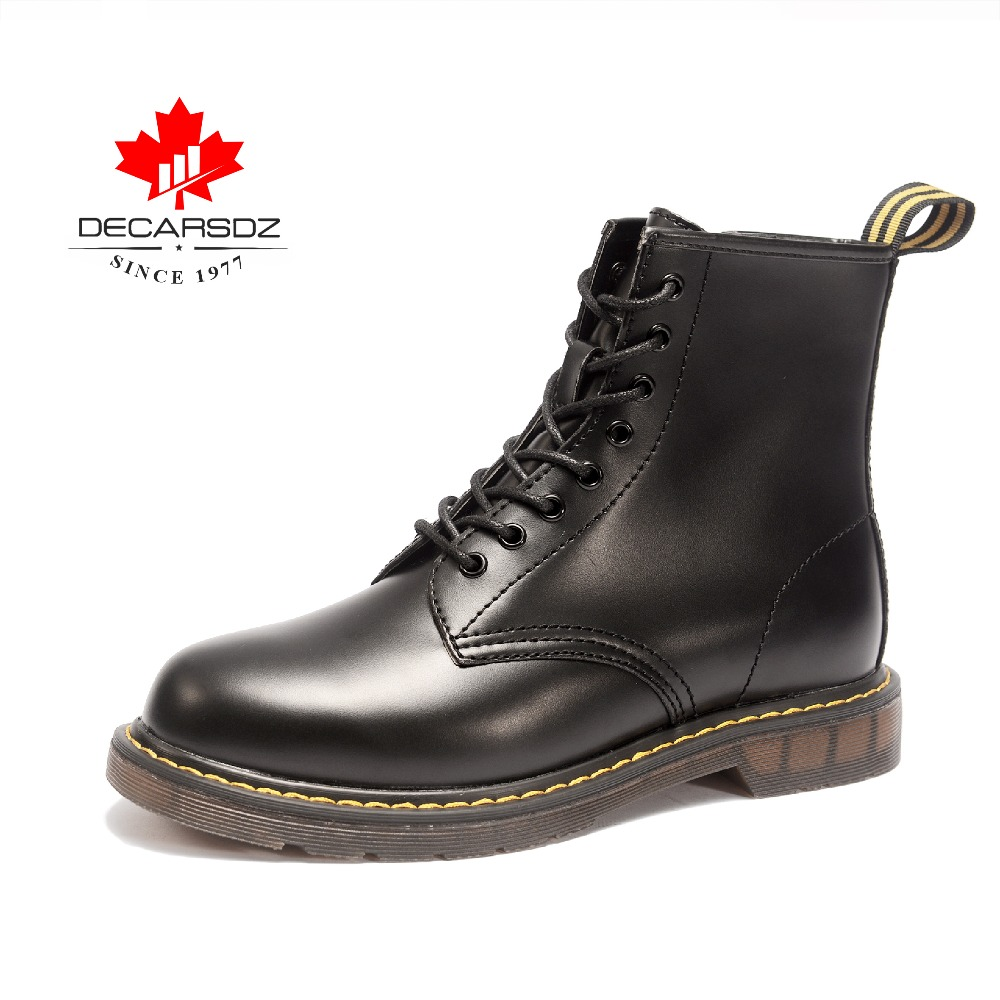 Martin Boots ,decarsdz Ankle Boots Men, Waterproof Warm Men Boots With Lace-Up And Zip For Motorcycle/work/indoor/outdoor -Bk