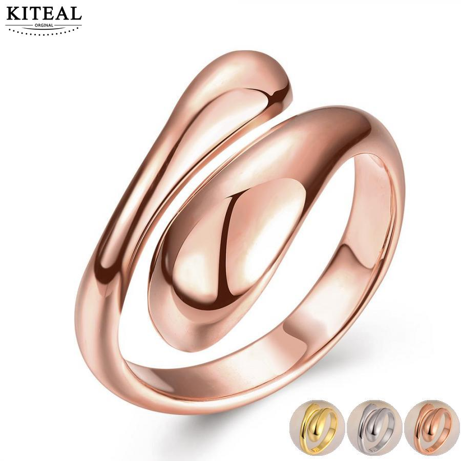 Kiteal Silver/gold /rose gold color resizable ring forever love for women wedding water drop Double Round Head Ring-Opend