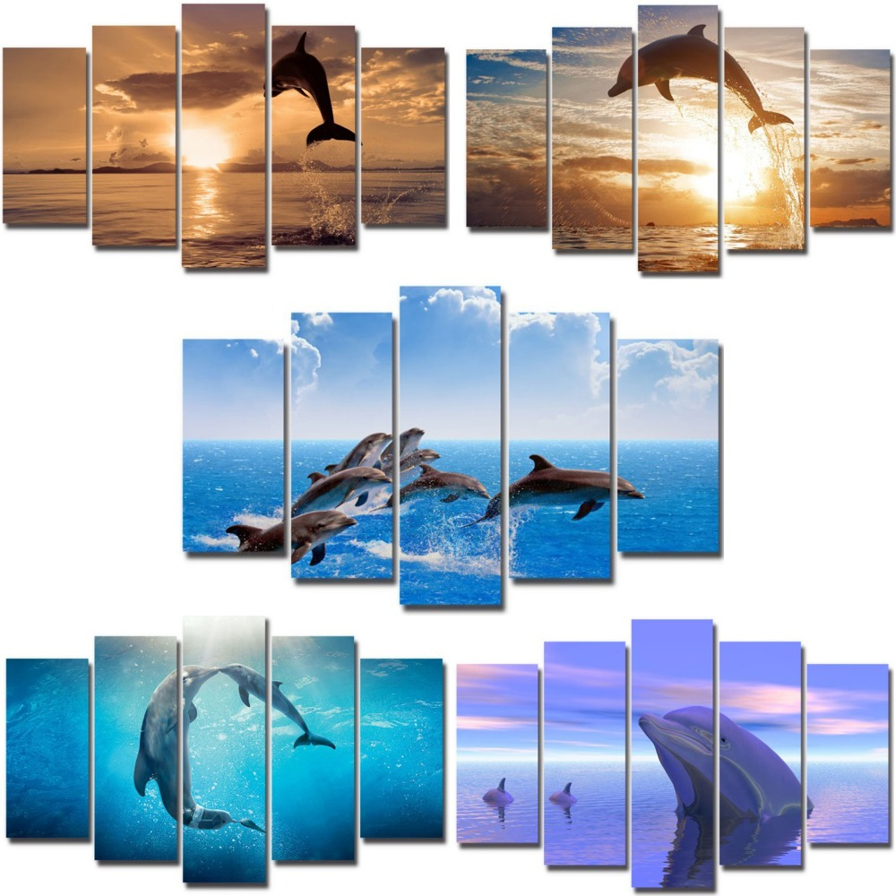 5 pieces canvas painting jumping dolphings marine animals series wall mural picture decor printing for living room ready to hang5 pieces canvas painting jumping dolphings marine animals series wall mural picture decor printing for living room ready to hang