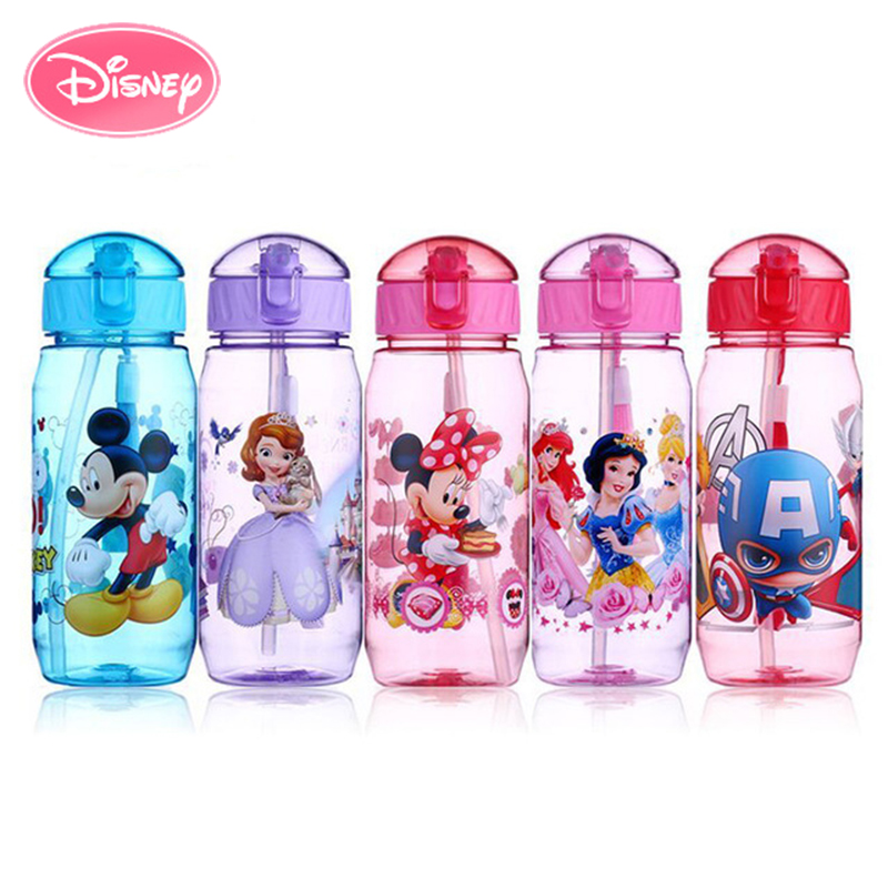 Disney Cup Sippy-Cups Water-Bottle Tritan-Material Plastic Silicone Portable Cartoon