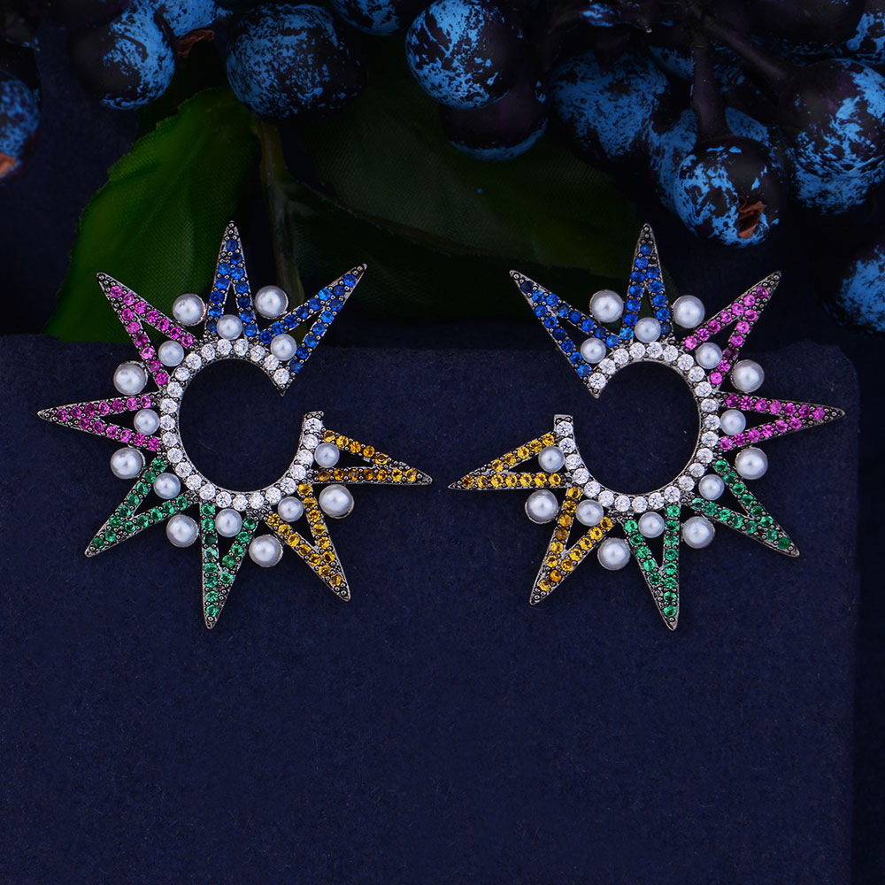 Amiable Godki 32mm Fireworks Star Imitation Pearls Cubic Zirconia Women Engagment Night Out Party Anniversary Dress Up Earring